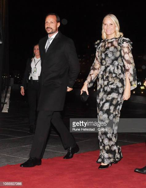 Norwegian Crown Prince Haakon and Crown Princess Mette Marit attend the Nordic Council Literature Prize at the Opera House on October 30, 2018 in...