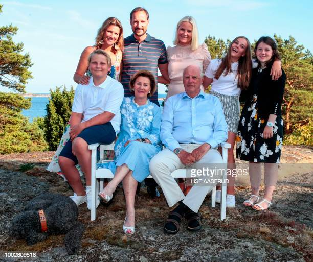 Norwegian Crown Prince Haakon celebrates his 45th birthday with his family, while he poses beside Princess Martha Louise , Crown Princess Mette-Marit...