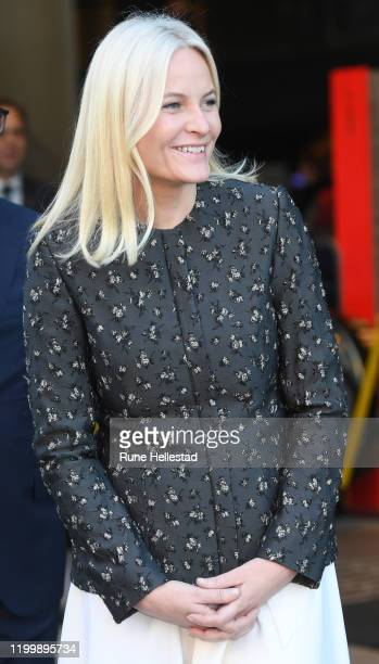 Norwegian Crown Princess Mette Marit attends Children's Book Parade at Deichman Bjorvika Library on January 16 2020 in Oslo Norway