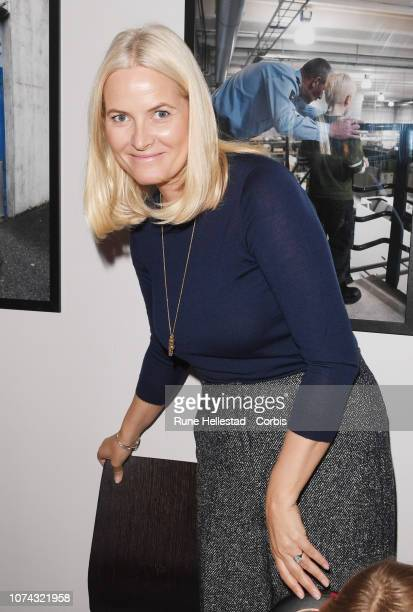 Norwegian Crown Princess Mette Marit visit sthe Fathers Pursuit Organisation on December 17 2018 in Oslo Norway