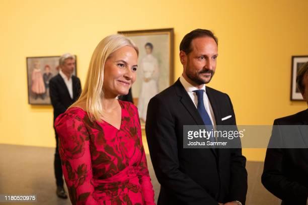 """Norwegian Crown Princess Mette-Marit and Norwegian Crown Prince Haakon open the exhibition """"Edvard Munch gesehen von Karl Ove Knausgard"""" at..."""