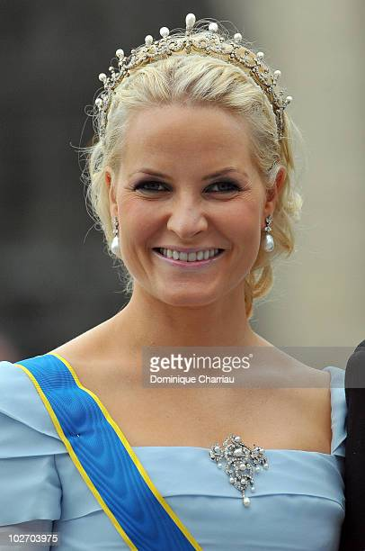 Norwegian Crown Princess MetteMarit attends the wedding of Crown Princess Victoria of Sweden and Daniel Westling on June 19 2010 in Stockholm Sweden
