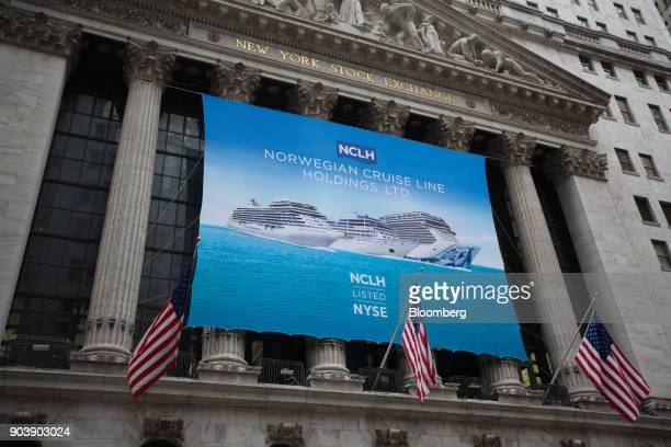 Norwegian Cruise Line Holdings Ltd signage is displayed in front of the New York Stock Exchange in New York US on Thursday Jan 11 2018 US stocks...