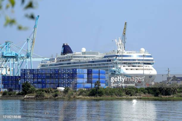 Norwegian Cruise Line's Norwegian Pearl cruise ship is docked at the Port of Jacksonville amid the Coronavirus outbreak on March 27, 2020 in...