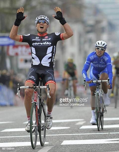 Norwegian cyclist Thor Hushovd of Team Cervelo celebrates as he wins the Het Nieuwsblad road cycling race on February 28, 2009. The Het Nieuwsblad...