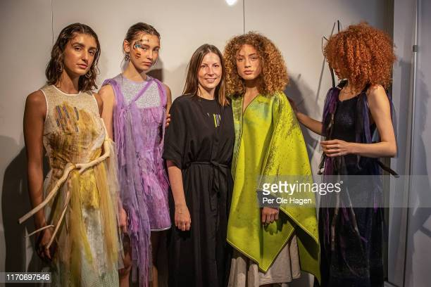 Norwegian designer Tonje Plur with some of her models at the viewing of her designs at the Fushion Fashion Art Festival on August 28 2019 in Oslo...