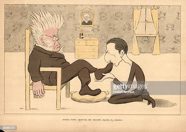 Norwegian dramatist Henrik Ibsen having his stockinged feet licked by an admirer in a room covered in wallpaper depicting him