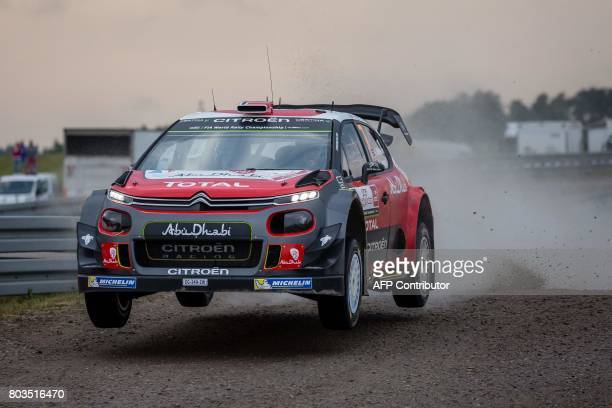 Norwegian driver Andreas Mikkelsen and his codriver Anders Jaeger steer their Citroen C3 WRC during the super special stage of the Orlen Rally Poland...