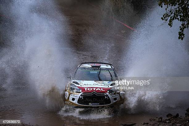 Norwegian driver Mads Ostberg steers his Citroen DS3 WRC with his codriver Jonas Andersson from Sweden during the SS2 of the WRC Argentina 2015 near...