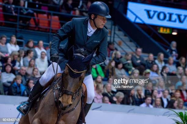 Norwegian equestrian Geir Gulliksen on Arakorn rides in the Accumulator Show Jumping Competition during the Gothenburg Horse Show in Scandinavium...