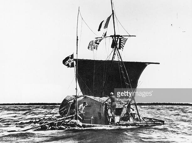 Norwegian ethnologist Thor Heyerdahl and his balsa raft 'KonTiki' crossing the Pacific Ocean on his drifting expedition from Peru to Polynesia