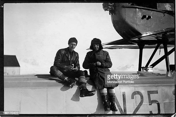 Norwegian explorer Roald Amundsen sitting with a member of his crew during his expedition in the polar regions Antarctica 1900s