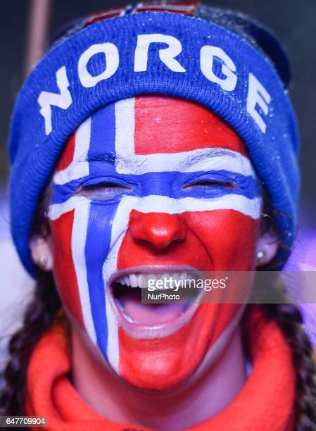 A Norwegian fan during the Awards Ceremony of Men crosscountry 4 x 100km Relay during the Awards Ceremony at FIS Nordic World Ski Championship 2017...