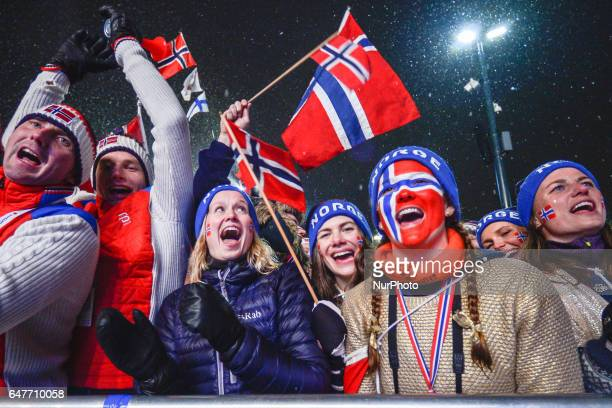 Norwegian fans celebrate their team's Gold medal in Men crosscountry 4 x 100km Relay during the Awards Ceremony at FIS Nordic World Ski Championship...
