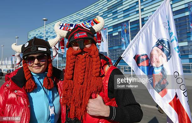 Norwegian fans pose inside Olympic Park during the 2014 Winter Olympic Games on February 8 2014 in Sochi Russia