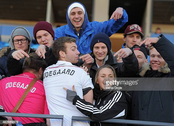 Norwegian fans supporting their countryman Martin Odegaard of Real Madrid Castilla pose for a photograph during the Segunda Division B match between...