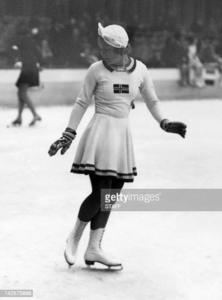 Norwegian figure skater Sonja Henie warms up during the Winter Olympic Games in GarmischPartenkirchen Born in Oslo in 1912 Henie is considered to be...