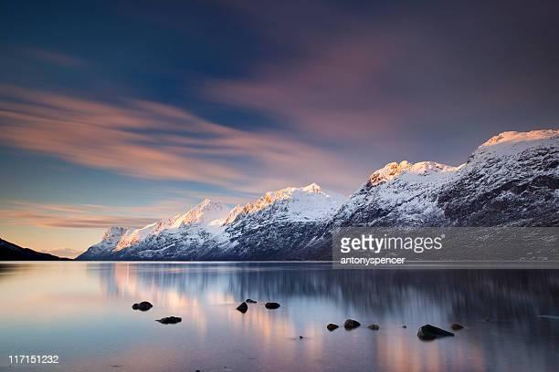 Norwegian fjord at Sunset.