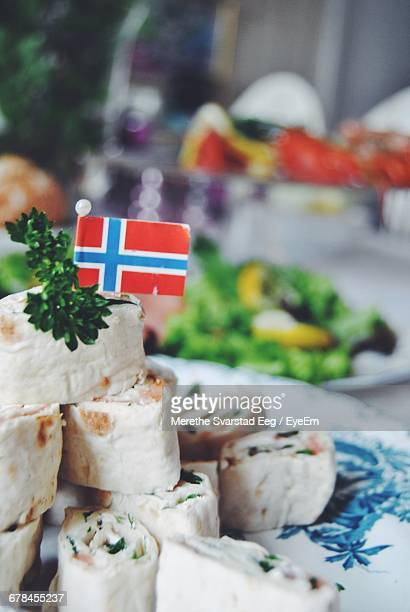 norwegian flag on salmon rolls - norwegian flag stock pictures, royalty-free photos & images