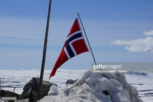 norwegian flag on snow covered field against sky - norwegian flag stock pictures, royalty-free photos & images