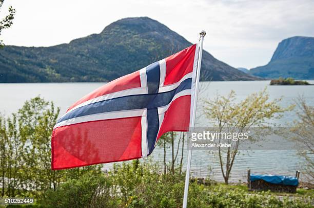Norwegian flag with fjord and mountain in back