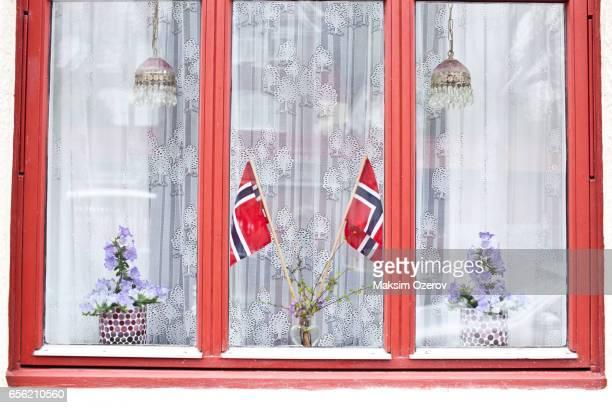 Norwegian flags in the window