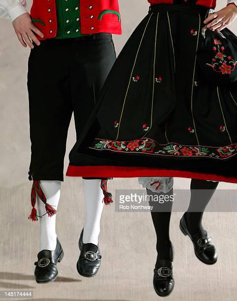 Norwegian folk dancers, waist down