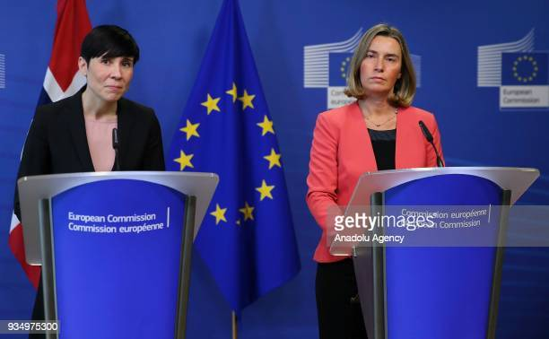 Norwegian Foreign Minister Ine Marie Eriksen Soreide and High Representative of the European Union for Foreign Affairs and Security Policy Federica...