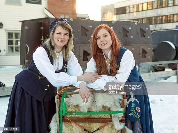 Norwegian girls in traditional Bunad costume