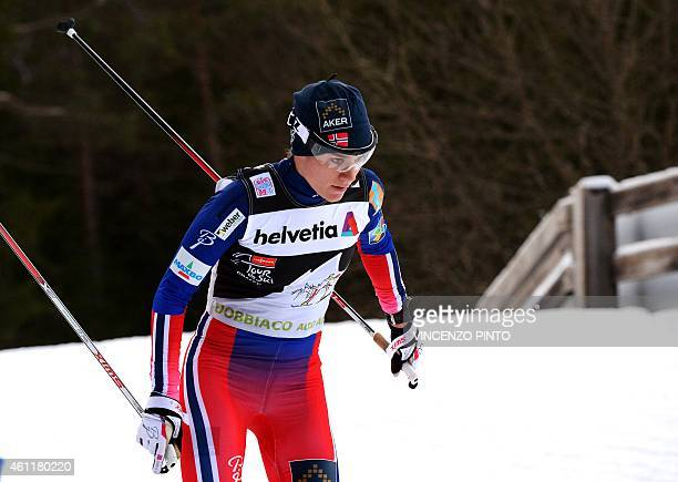 Norwegian Heidi Weng competes in the Women's 15 km free pursuit competition of the Tour de Ski Cross Country World Cup on January 8 2015 in the...