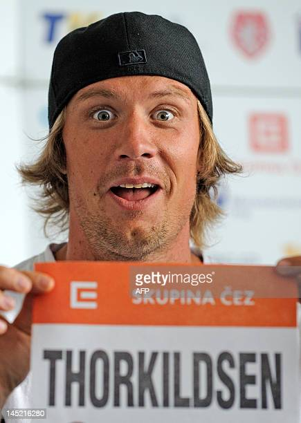 Norwegian javelin thrower Andreas Thorkildsen poses during a press conference on May 24 2012 prior to the Zlata Tretra athletics meeting in the...