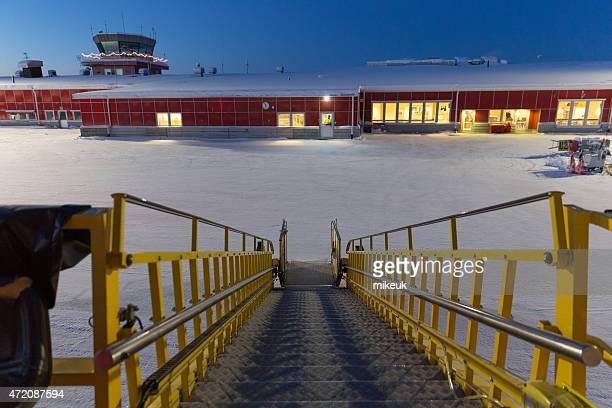 Norwegian jet airplane in winter at Kiruna Airport in Sweden