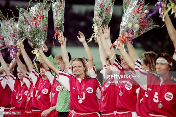 Norwegian Linda Medalen salutes the 67000strong audience after the medal presentation ceremony of the first FIFA World Championship for Women's...