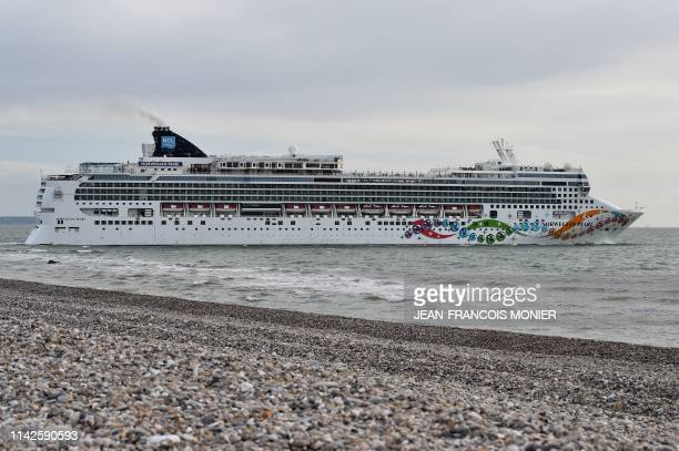 Norwegian liner Pearl ship leaves the access channel from Le Havre harbour northern France on May 8 2019