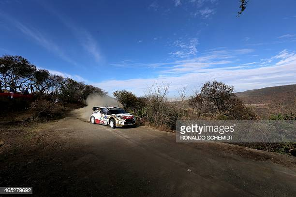 Norwegian Mads Ostberg steers his Citroen DS3 WRC during the shakedown of the 2015 FIA World Rally Championship in Leon Guanajuato state Mexico on...