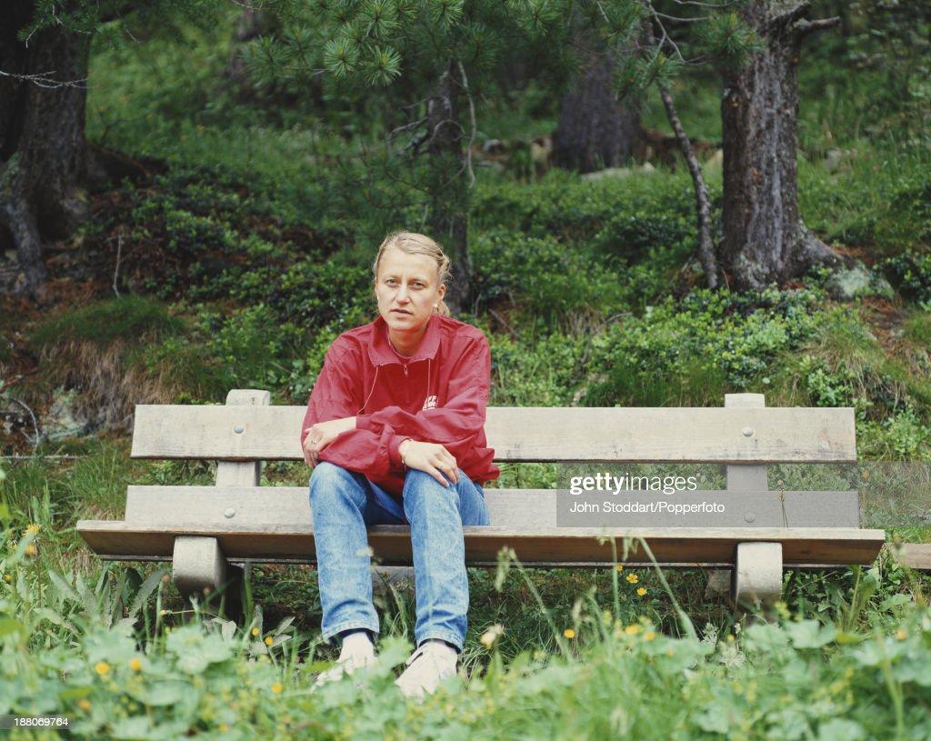 Norwegian marathon runner Grete Waitz (1953 – 2011), circa 1995.