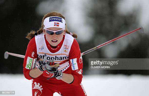 Norwegian Marthe Kristoffersen powers to the eighth place in the women's FIS World Cup 135 km free sprint qualification in Lahti on March 7 2009...