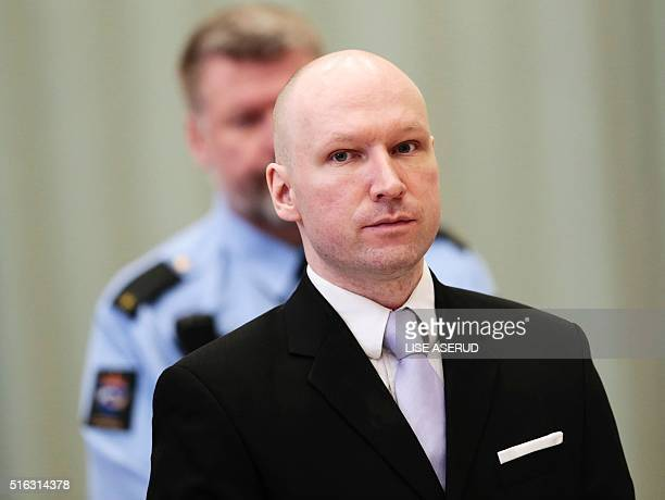 Norwegian mass killer Anders Behring Breivik attends his fourth and last day in court in Skien prison March 18 2016 Behring Breivik is charging...