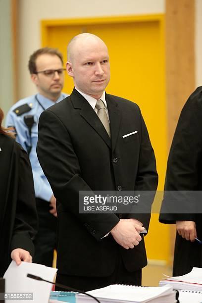 Norwegian mass killer Anders Behring Breivik waits inside the court room in Skien prison March 16 2016 Behring Breivik is charging Norwegian...