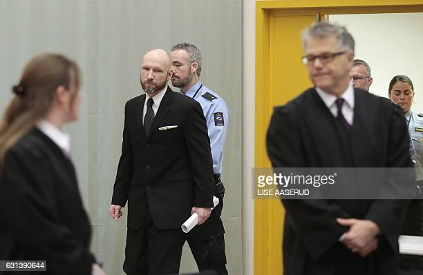Norwegian mass murder Anders Behring Breivik arrives for the appeal hearing in Borgarting Court of Appeal at Telemark prison in Skien Norway on...