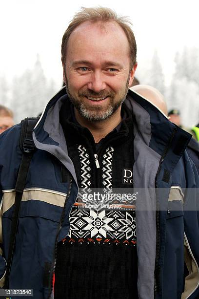 Norwegian Minister of Trade and Industry Trond Giske attends the FIS Nordic World Ski Championship 2011 Mens Cross Country Pursuit at Holmenkollen on...