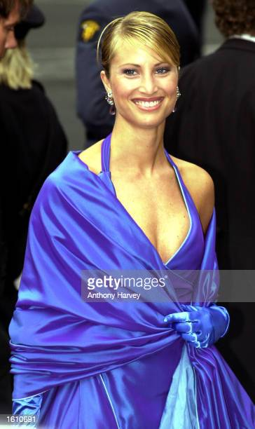Norwegian model Eva Sannum attends the wedding of Norwegian Crown Prince Haakon and MetteMarit Tjessem Hoiby August 25 2001 at the Oslo Cathedral