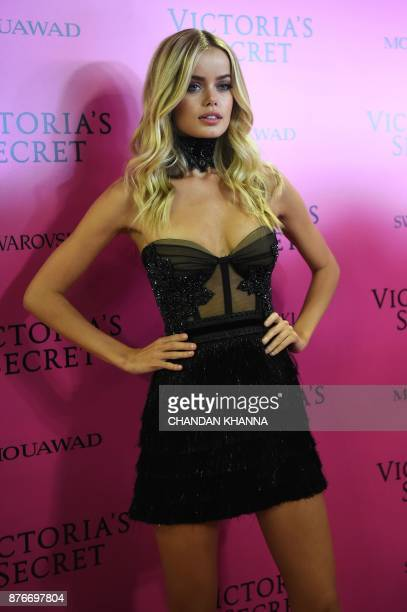 Norwegian model Frida Aasen poses as she arrives for the after party of the 2017 Victoria's Secret Fashion Show in Shanghai on November 20 2017 / AFP...