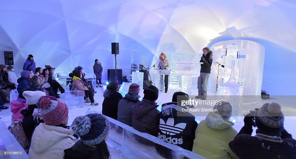 Norwegian musican Terje Isungset (R) performs Iceophone, music instrument made of ice during the 'Concert of Ice' at the Hoshino Resort Tomamu on February 17, 2016 in Shimukappu, Hokkaido, Japan.