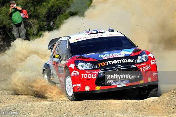 Norwegian Petter Solberg and his copilot Chris Patterson compete with their Citroen DS3 WRC on June 19 2011 in the 2011 WRC Acropolis rally during...