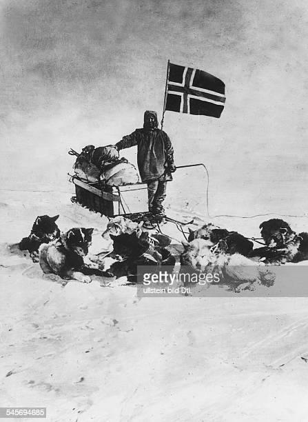 Norwegian polar explorer hoisting the Norwegian flag at the South Pole December 14 1911