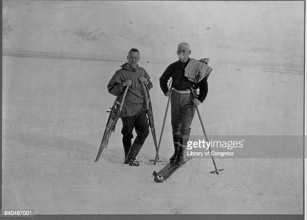 Norwegian polar explorer right during the 1926 expedition which carried Amundsen American fiancier Lincoln Ellsworth and Italian navigitor Umberto...