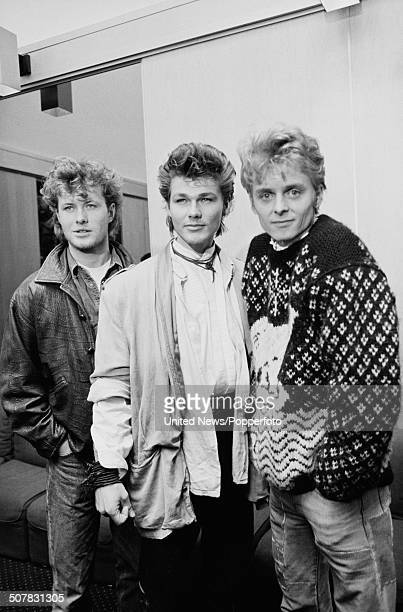 Norwegian pop group Aha posed in London on 10th April 1984 From left to right Magne Furuholmen Morten Harket and Pal Waaktaar