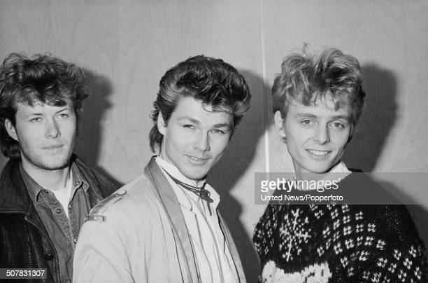 Norwegian pop group A-ha in London on 10th April 1984. From left to right: Magne Furuholmen, Morten Harket and Pal Waaktaar.