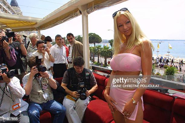 Norwegian porn actress Tanya Hansen poses at the Noga Hilton hotel for the Hot d'Or lunch during the 54th Cannes Film Festival 15 May 2001 Best...